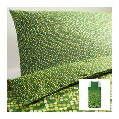 SMÖRBOLL Funda nórd y funda para almohada - verde, 150x200/50x60 cm  - IKEA