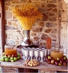 I like the way they decorated with the apples. Maybe an apple cider punch? Hmm...