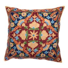 Chain Stitch Embroidery Earth Tone Kashmir Cushion Cover (India)   Overstock.com Shopping - The Best Prices on Throw Pillows & Covers