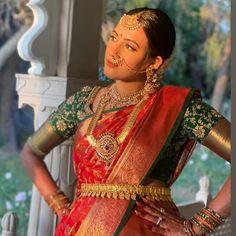 Bridal Sarees South Indian, Bridal Silk Saree, Indian Bridal Fashion, South Indian Bride, Bridal Lehenga, Indian Sarees, Silk Sarees, Wedding Saree Blouse Designs, Half Saree Designs