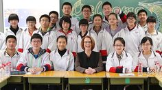 Prime Minister Julia Gillard talked to year 11 students during a visit to Chenjinglun High School in Beijing.