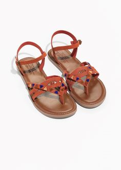 & Other Stories image 2 of TOMS Suede Beaded Lexie Sandals in Red