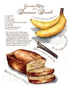 Custom recipe artwork favorite family recipe by CarynDahm on Etsy Recipe Drawing, Easy Banana Bread, Food Journal, Recipe Journal, Banana Bread Recipes, Carrot Recipes, Spelt Recipes, Ham Recipes, Sausage Recipes