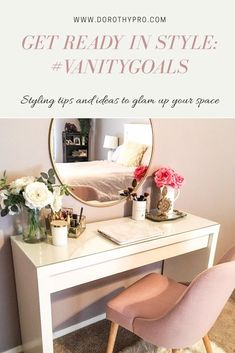 Get Ready In Style [How to Glam Up Your Vanity or Office Space] Vanity ideas tips and tricks to creating a glam office desk space. Source by TheGorgeousLife ideas tips Ikea Malm Desk, Makeup Vanity Decor, Makeup Vanities, Makeup Rooms, Bathroom Vanities, Desk Redo, Surprises For Husband, Vanity Desk, Ikea Vanity Table