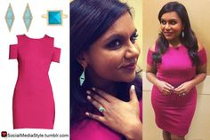 Buy Mindy Kaling's Live with Kelly and Michael Turquoise Earrings and Ring and Berry Cutout Dress, here!