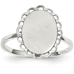 14k White Gold Oval Signet Women's Ring ($110) ❤ liked on Polyvore featuring jewelry, rings, white gold, 14 karat gold ring, white gold jewelry, engraved signet ring, engraved jewelry and 14k ring
