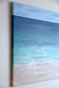 DIY Beach Painting - close up showing painted sides - artsychicksrule