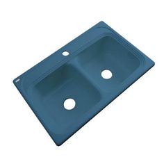 Thermocast Chesapeake Drop-In Acrylic 33 in. 1-Hole Double Bowl Kitchen Sink in Rhapsody Blue - 43121 - The Home Depot