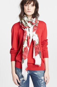 Dolce and Gabbana Floral Print Cashmere Scarf
