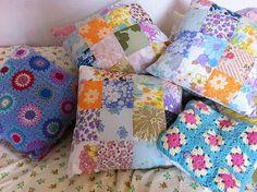 vintage linen patchwork cushions