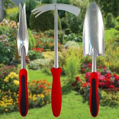 These are great gardening tools. Very sturdy - not the cheap flimsy type. I like the size of each - they are very substantial and will definitely last. All of the handles are easy to grip. Plus it comes in a nice case to hold everything. Perfect for working in my flower bed.  Click image to order!
