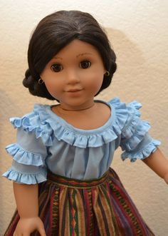 """Fiesta Camisa & Skirt Outfit for Josefina 18"""" American girl dolls by CharmingTreasureCo"""
