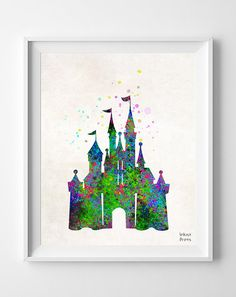 Disney Castle, Print, Watercolor, Baby Room, Nursery, Poster, Art, Illustration, Watercolour, Giclee Wall, Kid Nursery, Home Decor [NO 110]