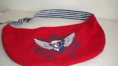 VINTAGE SKULL WINGS 1980's Handbag Red White & by NYVintageCouture