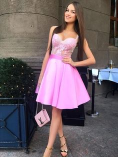 A-Line Spaghetti Straps Pink Satin Homecoming Dress with Appliques Sleeveless Homecoming Dress, Pink Homecoming Dress, Appliques Homecoming Dress, Homecoming Dress, Homecoming Dress A-Line Homecoming Dresses 2019 Modest Homecoming Dresses, Short Graduation Dresses, Cheap Short Prom Dresses, Pink Dress, Lace Dress, Formal Gowns, Formal Dress, Nice Dresses, Casual Dresses