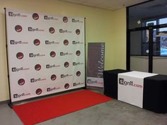 Step and Repeat with Stand, red carpet, table cover, table runner with welcome banner. Red Carpet Backdrop, Welcome Banner, Event Banner, Reception Table, Dance Studio, Table Covers, Dark Colors, Event Decor