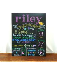 Hand Painted Birthday Chalkboard 1st Birthday by ArtByGillian, $60.00 4 week turn around time