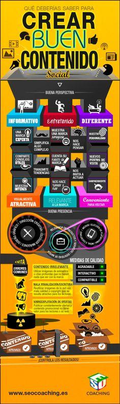 Qué debería saber para crear un buen contenido. Infografía en español. #CommunityManager