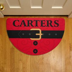 Santa Suit Half Round Doormat   with Personalization