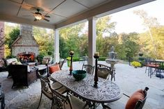 Beautiful outdoor patio with fireplace. 70 Castle Bluff Drive, Saint Charles, MO.