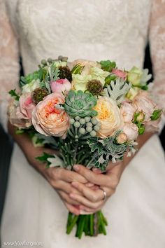 Peony succulent bouquet