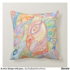 Shop A retro design with peacock cushion created by EvaBstylishcushions. Colourful Cushions, Retro Design, Custom Pillows, Your Design, Peacock, Birthday Gifts, Throw Pillows, Make It Yourself, Knitting