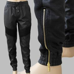 Good quality snake leather pants Mens drawstring black jogger gold side zippe and Breathable mesh design casual trouser