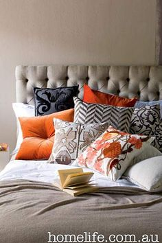 My fave! Love the bedhead and colour combo of grey/orange/white.  Jean Phillipe bedhead from lamaison.net.au and pic from homelife.com.au