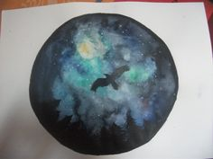 Watercolor night galaxy sky  Crow silhouette over forest