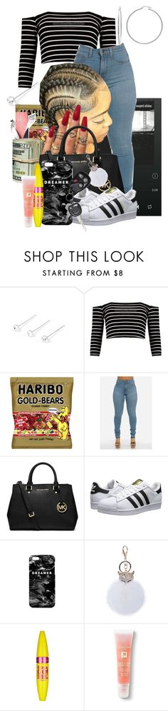 """*FirstTime*"" by beautyonfleek ❤ liked on Polyvore featuring claire's, Boohoo, MICHAEL Michael Kors, adidas Originals, Mr. Gugu & Miss Go, Maybelline, Lancôme and Sterling Essentials"