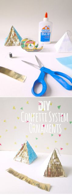 DIY Pyramid Ornaments | Elmer's Glue-All, Scotch Tape, Scissors, Gold Construction or Crafty Paper, Blue Chinese Paper, White Plain Paper, Gray String
