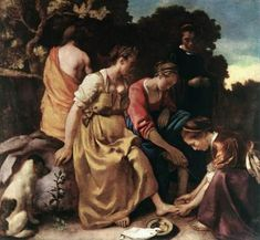 Buyenlarge 'Diana and Her Nymphs' by Johannes Vermeer Painting Print Johannes Vermeer, Rembrandt, Delft, Vermeer Paintings, Oil Paintings, Diana, Classical Mythology, Dutch Painters, Canvas Signs
