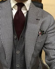Houndstooth Men& Blazer Suits 2019 Two Pieces Tuxedo (Jacket+black pants) is part of Suits Please Leave Note for Pants waist,your height and your weight Tailoring Delivery Time 46 day - Mens Fashion Suits, Mens Suits, Suit Men, Womens Fashion, Chaleco Casual, Houndstooth Jacket, Tuxedo Jacket, Well Dressed Men, Suit And Tie