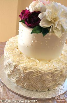 "Design W 0627 | Butter Cream Wedding Cake | 12""+8"" | Serves 75 | Rose Butter Cream Swirl, Hand Piping, Fresh Flowers | Standard Price"
