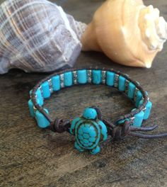 Surfing Turtle Turquoise Silver Leather Wrap Bracelet. $21.00, via Etsy.