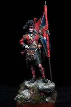 Royal Higlanders Standard Bearer 1815 by Winterland · Putty&Paint British Uniforms, French History, Military Figures, Military Modelling, English Men, Miniature Figurines, Napoleonic Wars, Picts, Toy Soldiers