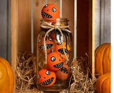 No Carve DIY Halloween Pumpkin Decorating Ideas: The Ultimate Roundup! Creepy stacked baby pumpkins in a mason jar as a Haloween decoration Holidays Halloween, Halloween Pumpkins, Halloween Crafts, Halloween Ideas, Spooky Pumpkin, Pumpkin Carving, Diy Crafts For Kids, Kids Diy, Craft Ideas
