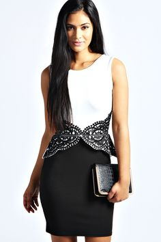 Erin Crochet Detail Peplum Dress at boohoo.com