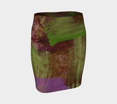 """Fitted+Skirt+""""Green+and+Purple+Abstract+Skirt""""+by+Paperwerks+--+Kim+Printz"""