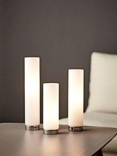 MINI TUBE TRIO BORDLAMPE Pillar Candles, Halo, Tube, Table Lamp, Led, Mini, Ideas, Table Lamps, Corona