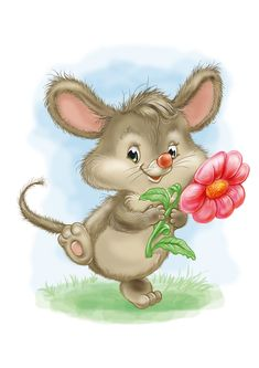 Cute Mouse with Flower Cute Images, Cute Pictures, Decoupage, Cute Rats, Pet Mice, Cute Mouse, Beautiful Gif, Cute Illustration, Colorful Pictures
