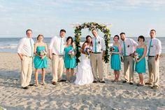 teal wedding ideas   Teal beach wedding party