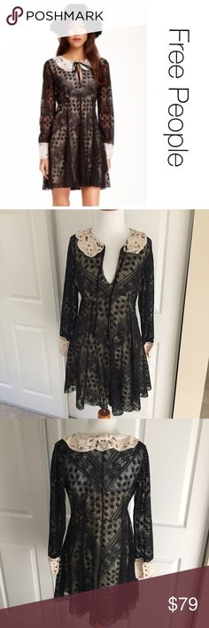 Free People Lace Peter Pan Collar Dress 6 ♦️Excellent condition. No holes, stains or piling ♦️Materials- Polyester- see tag  ♦️Measurements:                               ♦️Laying flat armpit to armpit: approximately 17 inches   ♦️Laying flat from the back of the neck to the bottom of the front hem is approximately 31 inches Free People Dresses Mini