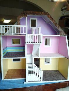 Custom Barbie House   Story Custom Made Wood Barbie Doll House Wooden Dream Dollhouse ...
