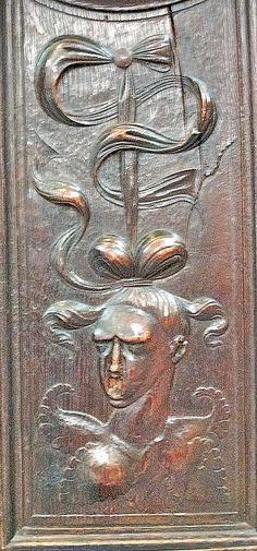 Detail of Anne Boleyn, beheaded by King Henry VIII, inside King's College Chapel.