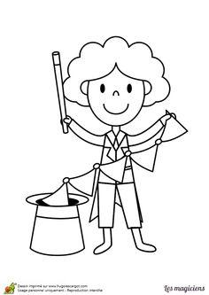 dessin dun petit magicien qui fait sortir un long foulard de son chapeau