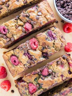 Healthy Raspberry Chocolate Chip Banana Bread @FoodBlogs