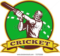 """vector  illustration of a cricket batsman batting front view with ball in background done in retro style  with scroll and words """"cricket"""" - stock vector #cricket #retro #illustration"""