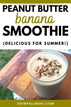 A peanut butter banana smoothie is the most refreshing drink for the summer!  You only need 5 ingredients to make this healthy smoothie recipe.