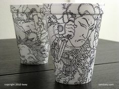 "At first, I thought ""so transient"", but then I remembered that styrofoam will outlast me and the Apocalypse. Incredible styrofoam cup artwork by boyobsolete. Literally Design ON an everyday thing. $480, naturally on Etsy :)"